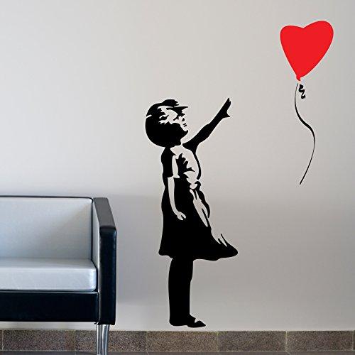 THE VINYL BIZ Banksy Balloon Girl WANDTATTOO WANDAUFKLEBER Wall Sticker Decal Xtra Große 150 cm x 75 cm