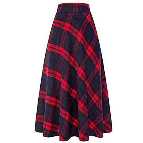 NOBRAND Winter Herfst Womens Hoge Elastische Taille Maxi lijn Plaid Rok Dames Casual Groen Rood Warm Flare Lange enkel Rok