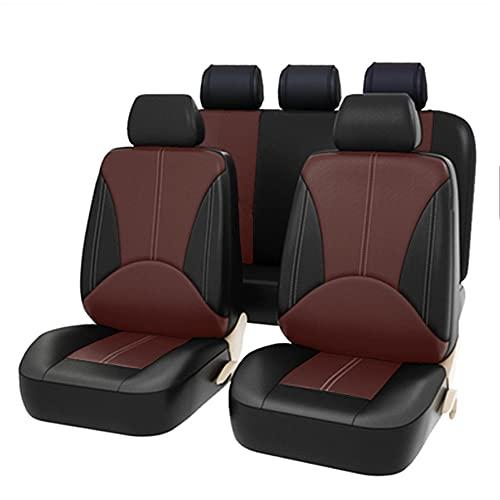 Juego de Fundas universales para Asientos Delanteros y Traseros con airbag, de Piel sintética, 9 Piezas, Mosaic Color (Brown + Black)