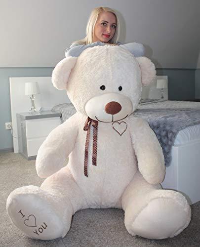 Velinda Teddybär Plüschbär Kuscheltier Stofftier Schmusebär Teddy Geschenkidee 190cm (Farbe: cremefarben-b)