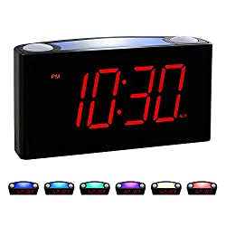 ROCAM Home LED Digital Alarm Clock - 6.5 Large Red Display, Loud Alarm, 7 Colored Night Light, Snooze, Dimmer, Dual USB Charger Ports, Battery Backup, 12/24 Hours for Bedrooms, Kids, Heavy Sleepers