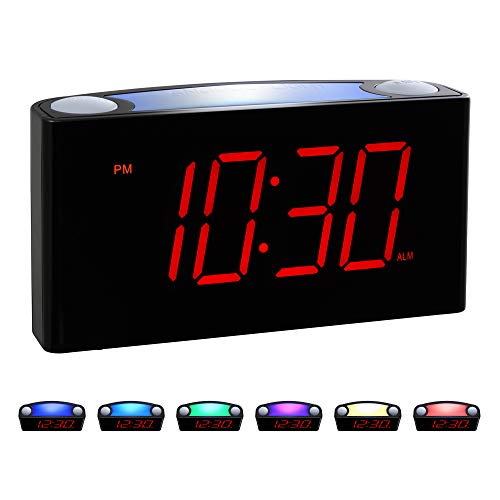 """Rocam Home LED Digital Alarm Clock - 6.5"""" Large Red Display, Loud Alarm, 7 Colored Night Light, Snooze, Dimmer, Dual USB Charger Ports, Battery Backup, 12/24 Hours for Bedrooms, Kids, Heavy Sleepers"""
