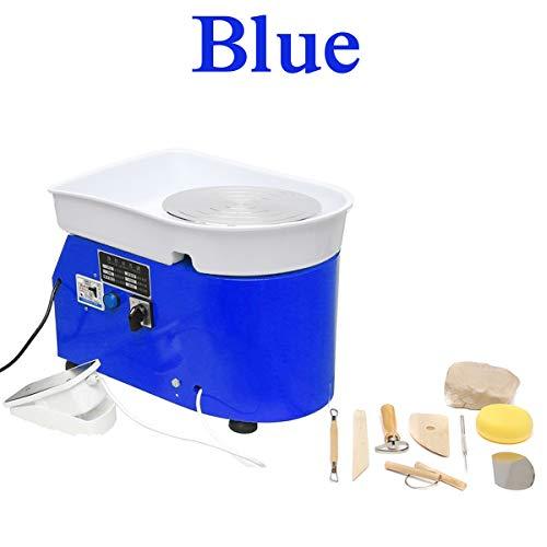 TQ Keramik Formmaschine, 220V 350W elektrische Töpferscheibe DIY Lehm-Werkzeug mit Tray Flexible Fußpedal für Keramik Arbeits Keramik,Blau