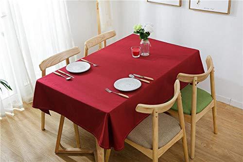 Yinaa Mantel de Decorativo a Prueba de Polvo Algodón Lino Grueso Simple Uso para La Mesa de Comedor Banquete Sirve Carmesí 110 × 110cm