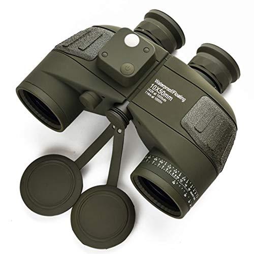 Binoculares de Alta definición Telescopio de brújula náutico a Prueba de Agua 10x50 con brújula de luz de luz de visión Nocturna de Baja luz telescopio