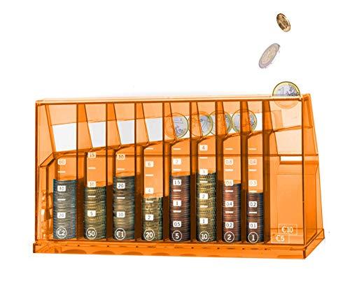 ECB Münzsortierer Euro Spardose | Für Büro und Kinderzimmer | Als Geschenk für Erwachsene und Kinder | Hergestellt aus recyceltem Material | Abschließbar (mit Schlüssel) | Transparent Orange