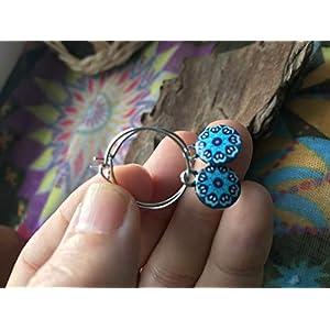 ✿ EMAILLE KLEINE MANDALA SCHEIBE CREOLEN AUS EDELSTAHL ✿ kleine runde Haken Ohrringe in hellblau – blau, antiallergisch