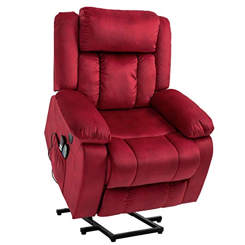 Mecor Lift Chair,Power Lift Recliner for Elderly,Fleece Massage Recliner Chair with Adjustable Headrest/Heat/Side Pockets/USB Charge Port for Living Room (Red)