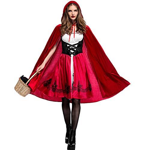 A/B Rotkäppchen-Kostüm, für Damen, Cosplay, Halloween, Weihnachten, schickes Kleid als Verkleidung + Umhang Gr. M , Damen Rot