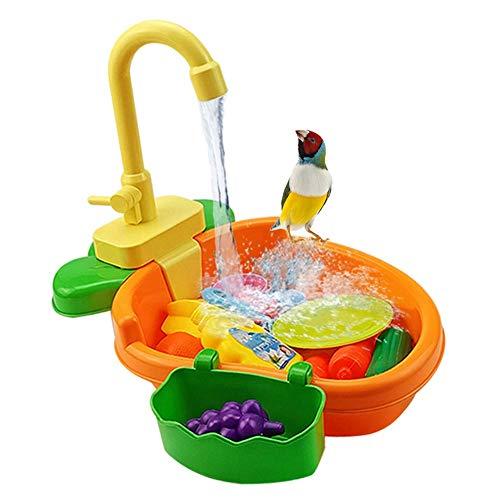 FYBlossom Automatische Vogel Badewanne,Vogelspielzeug Wellensittich-Spielzeug Bad Dusche Wasserspender Vogelkäfig Badezimmer Spielzeug Wasserhahn Vogel Cag Für Papagei (Orange)