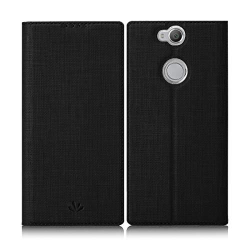 Eastcoo Sony Xperia Xa2 Plus Hülle Schutzhülle Tasche Handyhülle Cover PU Leder Folio Flip Dünn Premium klappbares Book Hülle [Mit Standfunktion][Kartenfach] [Wallet] Für Sony Xperia Xa2 Plus (Black)