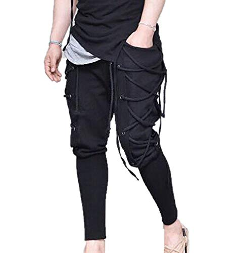 Pantalones de Renacimiento Vintage para Hombre Medieval Viking Harem con Cordones gticos