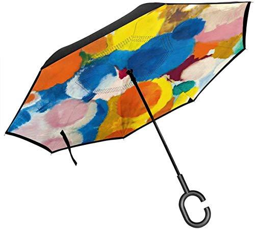 qinhanxinchengxianlibaihuodian Nay Irisches Gedicht Regenschirm mit C-förmigen Griff, Anti-UV-wasserdicht Winddicht für Auto Regen im Freien