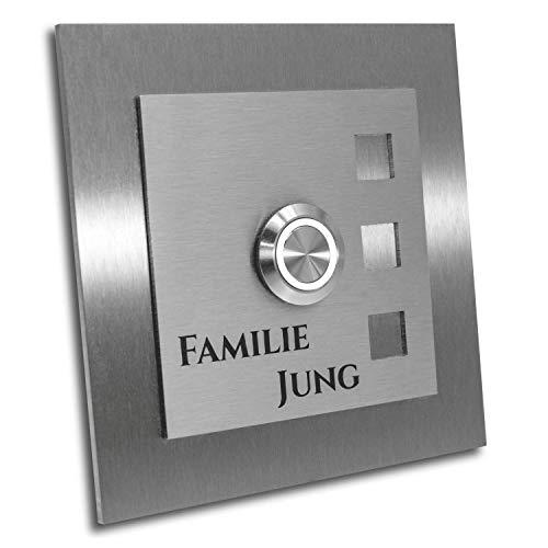 Jung Edelstahl Design Türklingel mit Gravur. Größe 10 x 10 cm. Led Taster weiss. Klingelschild V2a Edelstahl. Klingel Design Manhattan
