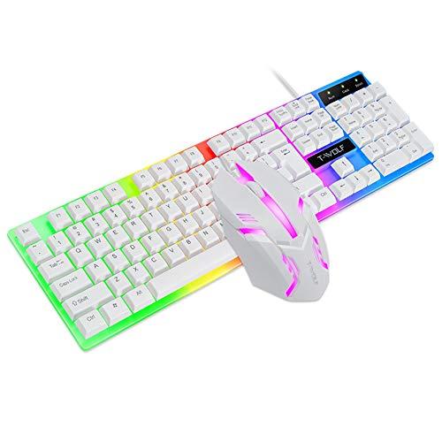 Mechanische Gaming Tastatur+Maus Set,schwebende Tastenkappen Keyboard mit LED Hintergrundbeleuchtung,Mechanisches Gefühl Mäuse,Ergonomisch,geeignet für Laptops/PC (Weiß)
