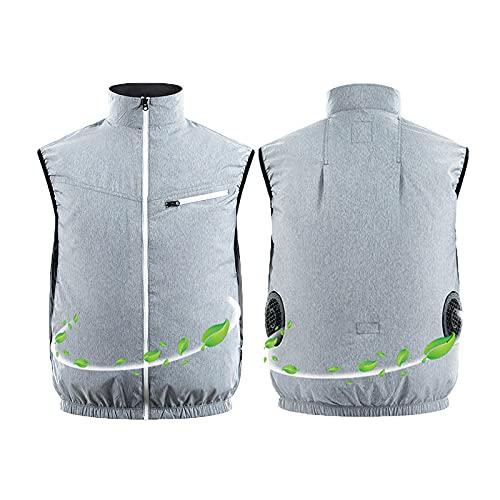 YANANN Chaleco Refrescante Moto,Chaleco De Aire Acondicionado De Ventilador Fresco De Enfriamiento De Verano, Chaleco De Montaje De Pesca Deportiva Al Aire Libre-Gris_SG