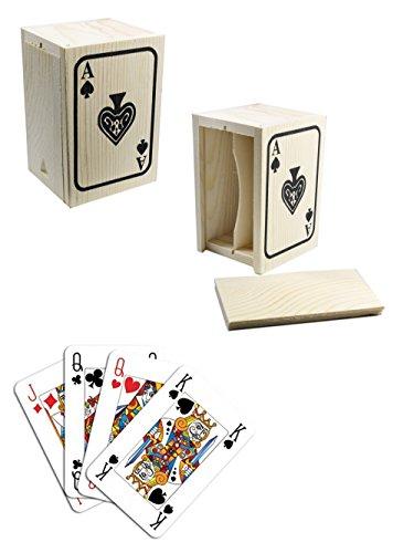 DFH Scatola per Carte da Gioco in Legno Cofanetto per riporre 1 Mazzo di Carte francesi napoletane Scala 40 burraco Poker 53174 E17