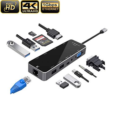 Topnaca USB C HUB, 11 in 1 USB C Adapter met 4K HDMI, VGA, SD/TF kaartlezer, Type-C, 2 x USB 3,0.2 x USB 2.0, Ethernet RJ45 Gigabit, en 3.5mm AUX Jack,Compatibel met MacBook Pro/Air (zwart)