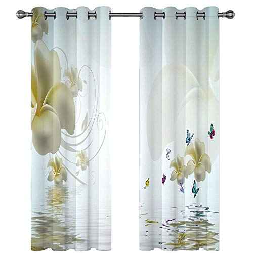MENGBB Blackout Curtain for Kids Girls Microfiber 94x90 inch Water surface flower butterfly Thermal Insulated 95% Blackout Kitchen Bedroom Living Room Window Eyelet Curtains