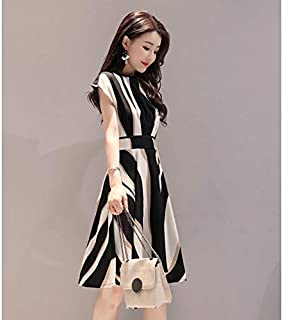 الفستان الجديد ذو الأكمام القصيرة المخططة هو فستان نسائي L 图片色