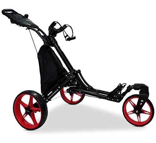 tour-made RT-140 V2 3-Rad Golf Push Trolley Pushtrolley Golftrolley 3-Rad (Swivel schwarz-rot)