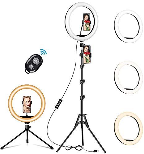 ANDYLV LED Ringlicht mit Stativ, 12 Zoll Selfie Ringleuchte mit Stativ Ringlicht für Handy mit Fernbedienung 3 Farbe & 10 Helligkeitsstufen für Makeup, Live-Streaming, Tiktok, Fotografie