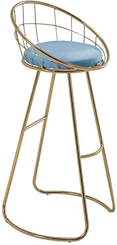 XJZKA Taburetes Altos Silla de Comedor Taburete de Bar Taburetes de Bar Cocina Desayuno Bar Silla Iron Art Nordic Metal Creativo con Respaldo y reposapiés ahuecados, 6 Colores