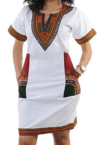 shekiss Womens Bohemian Bodycon Dashiki African Vintage Print Sexy V-Neck Club Midi Dress White/Red Small
