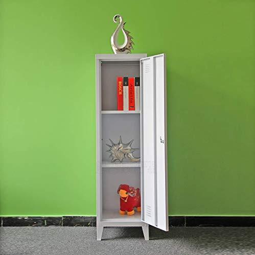 Panana pal Office Standing Filing Storage Cabinet Metal Cupboard Lockable Unit 1 Door 3-Tier (White)