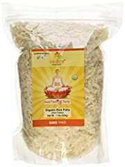 Organic Rice Poha (Rice Flakes) is made from dehusked rice which is flattened into light dry flakes. These flakes of rice swell when added to liquid as they absorb water or milk. Add peas and potatoes for a classic dish. It complements vegan and vege...