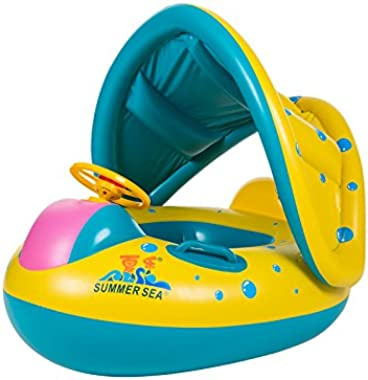 VStoy Swimming Pool Boat PVC Baby Float with Adjustable Sunshade Sturdy Handles, (0-3 Years Old (Yellow))