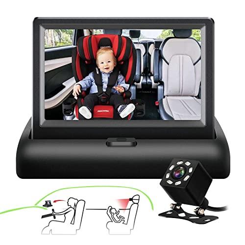 Baby Car camera ,SAMFIWI Baby Car Mirror Safety Car Seat Mirror Camera and Monitor with Infrared Night Vision Best Baby Monitor and Camera for Baby Car Seat Rear Facing