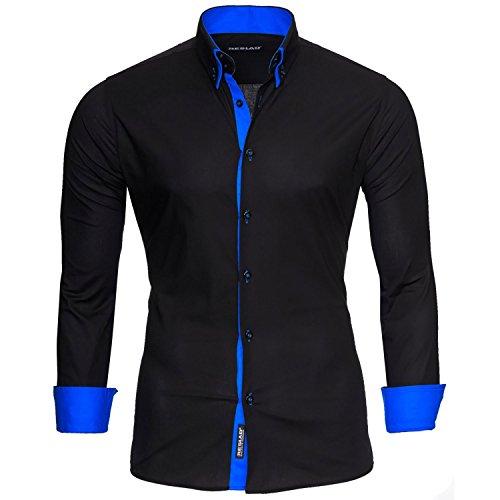 Reslad Herren Hemd Männer bügelfrei figurbetont Freizeit-Hemden Business 2 Knopf Doppelkragen RS-7050 Schwarz Blau Gr XL