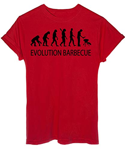 iMage T-Shirt Evoluzione Barbecue Grill Arrosto - Evolution - Uomo-XXL-Rossa