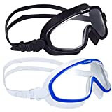 Keary 2 Pack Swim Goggles No Leaking Anti-Fog Swimming Goggles for Adult Men Women Youth with Soft Silicone Gasket, Adjustable UV Protection Waterproof Ultra Clear 180° Wide Vision, Triathlon Pool