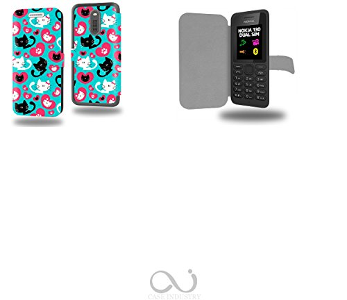 Chat plein d amour avec coeur Collection Pattern Custodia Pelle Ultra Slim per Nokia 130 smartphone - Flip Case Funda Cover protettiva Nokia 130 PU Pelle - CASE Industry accessori