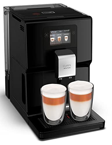 Krups EA8738 Intuition Preference automatyczny ekspres do kawy z pojemnikiem na mleko, kolorowy ekran dotykowy podobny do smartfonu, technologia Smart Slide, intuicyjny system oświetlenia, 11 napojów