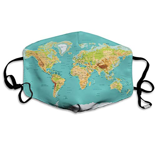 ComfortableWindproofFacecover, Map of The World Geography Continents and Countries Physical Cartography Image,PrintedFacialDecorationsfor adult