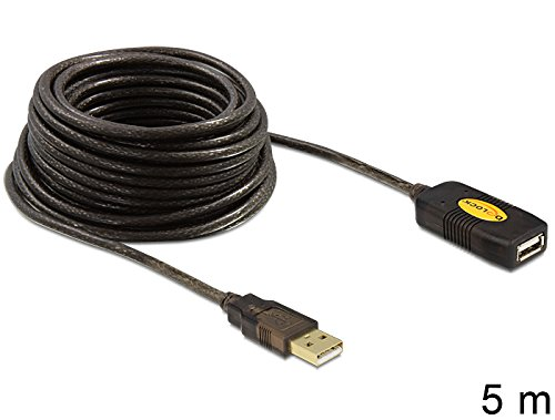 DeLOCK KB000393 5 m USB 2.0 Type-A Male to USB 2.0 Type-A Female Extension Cable, Black