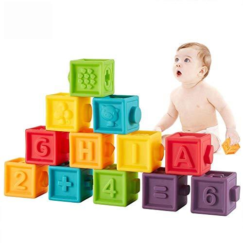 Dough.Q 12Pcs Bloques de Construcción de Color Cubo de Silicona Rompecabezas Juguetes educativos Exprimir Juguetes Niños Alfabeto de bebé Números Animales Verduras Reconocimiento(Bolsa de Transporte)