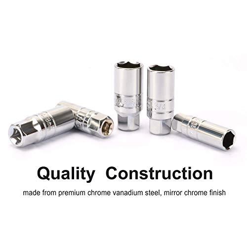 CASOMAN 3/8-Inch Drive Spark Plug Socket Set, 6-Point, 5/8-Inch, 3/4-Inch, 13/16-Inch, 14mm, 18mm, 5-Piece Set