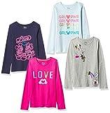 Spotted Zebra 4-Pack Disney Star Wars Marvel Frozen Princess Long-Sleeve T-Shirts para Niñas, Minnie Love, X-Small