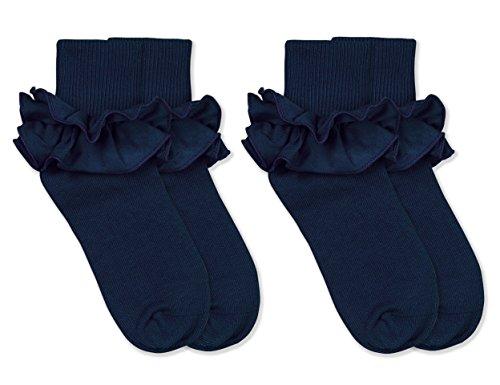 Jefferies Socks Girls Misty Ruffle Turn Cuff Socks 2 Pair Pack (S - USA Shoe 9-1 - Age 3-7 Years, Navy)