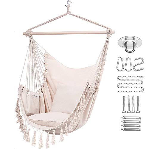 Y- STOP Hammock Chair Hanging Rope Swing, Max 330 Lbs, 2 Cushions Included, Large Macrame Hanging Chair with Pocket, Quality Cotton Weave for Superior Comfort, Durability, Beige