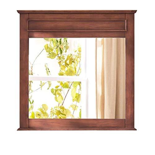 LLG Household Items& Wohnzimmer Spiegelwand Großes Holz, Shabby Chic Schwemmholz Spiegel mit Regal montiert Spiegel Badezimmerspiegel (Farbe: Braun, Größe: 80 * 70cm)