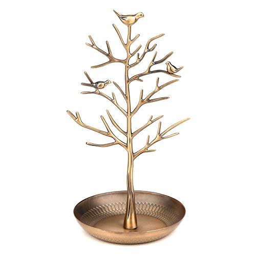 Amelia Isaiah - Soporte para joyas, diseño retro con ramas de árbol de pájaros, organizador de joyas, torre (oro antiguo)