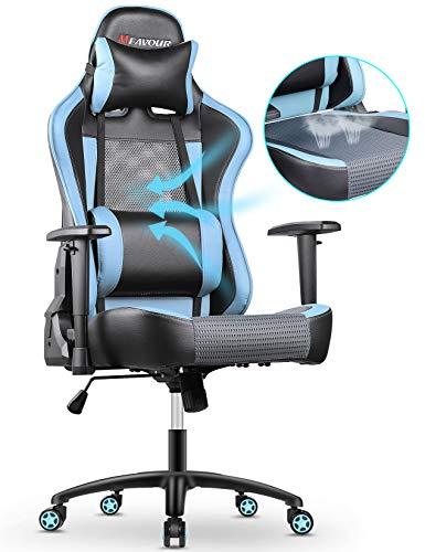 mfavour Sedia Gaming Mesh Traspirante Poltrona Gaming Girevole ergonomica Sedie da Gaming Heavy Duty Schienale a Regolazione Libera 170°2D Bracciolo