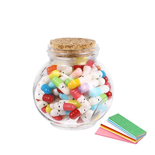 VORCOOL 1 set di capsula messaggistica in una bottiglia di vetro, lettere e messaggi, bottiglia sorriso, capsula con messaggio per Natale, regalo di compleanno