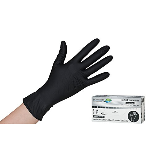 Schwarze Nitril Einweghandschuhe Permium 100 Stück EN455/EN374 - puderfreie und unsterile Kochhandschuhe Tätowierhandschuhe Tattoo Handschuhe (Gr. L)