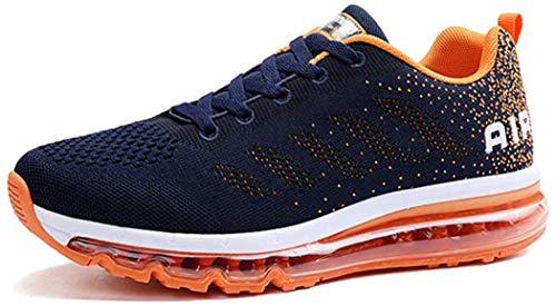 MIMIYAYA Zapatillas de Deporte con Cojines de Aire Calzado de Running Net para Estudiante Volar Zapatos Tejidos Zapatillas Deportivas de Mujer Gimnasia Sneakers Orange 36 EU